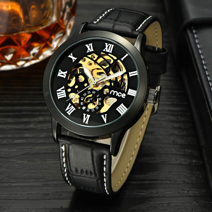 MCE Men' Fashion Hollow Out Style PU Band Analog Mechanical Wristwatch - Black