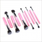 MeGooDo 10-in-1 Professional Cosmetic Makeup Brush Set - Pink + Silver