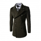 Men's Fashionable Slim Wool Double-breasted Coat - Army Green (XXL)