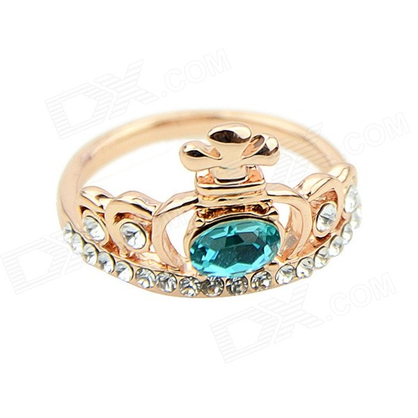 Women's Crown Style Rhinestone Inlaid Ring - Golden + Blue (Size 7) xxsl021 women s stylish star style rhinestone inlaid charm bracelet golden