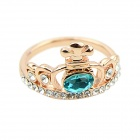 Women's Crown Style Rhinestone Inlaid Ring - Golden + Blue (Size 7)