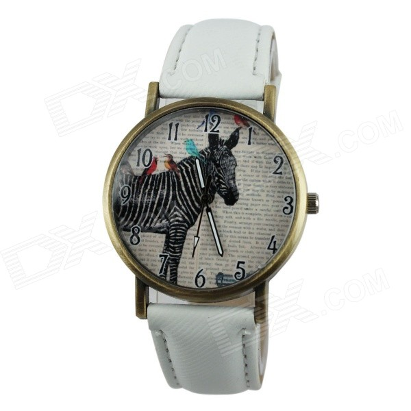 Women's Zebra Style PU Band Analog Quartz Watch - White (1 x 377)