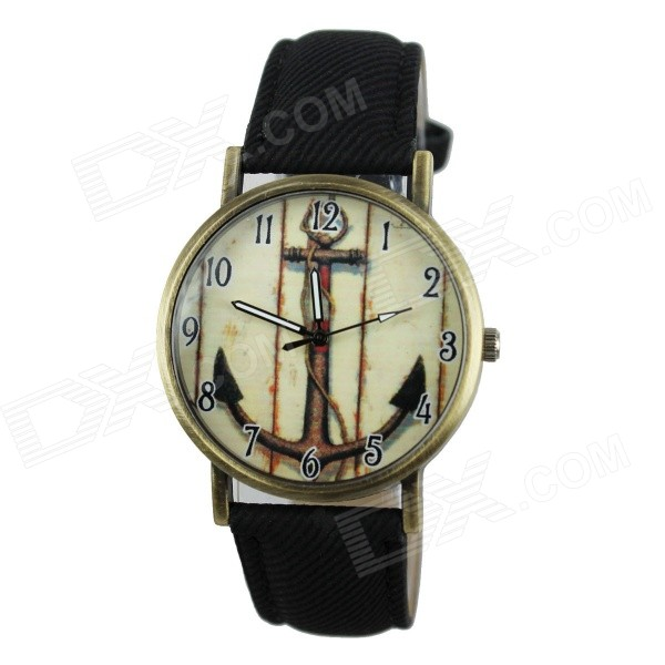 Women's Anchor Style PU Band Analog Quartz Watch - Black (1 x 377)