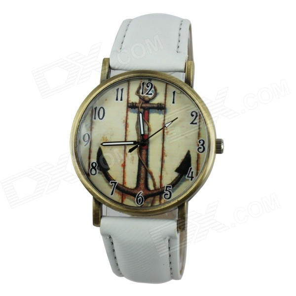 Women's Anchor Style PU Band Analog Quartz Watch - White (1 x 377)