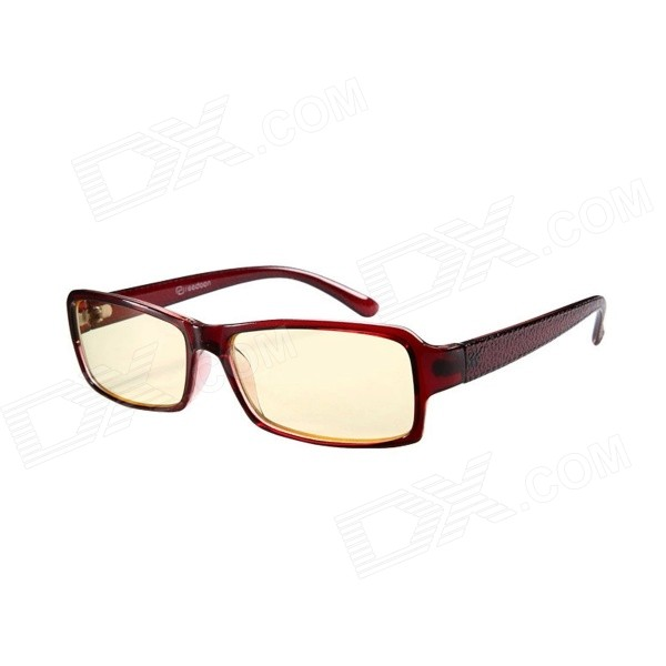 Reedoon F207 Radiation / Blue-Ray Protection TR90 Frame Resin Lens Gaming Glasses - Red Wine