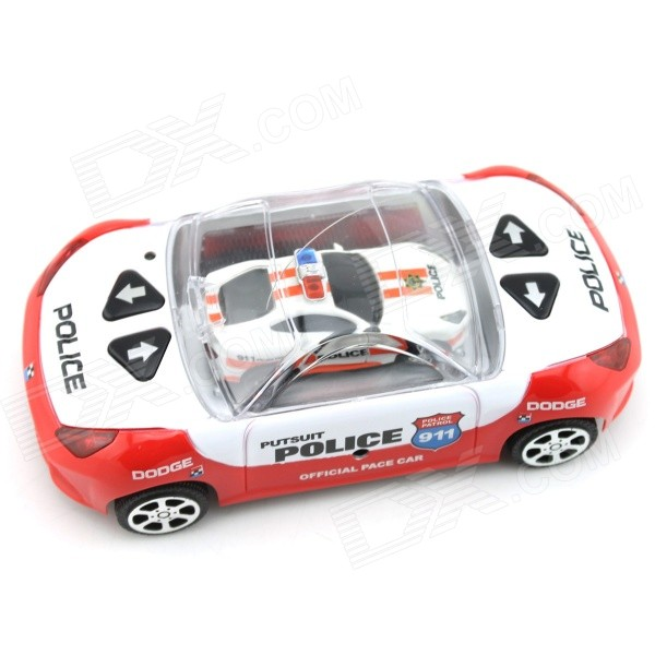 YDL-8809-1 2-CH Remote Control Super Mini Police Car w/ Siren Sound Effect - White + Red (2 x AA)
