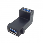 CY U3-161 90 USB 3.0 Grau Right Angled Female to Adapter Extensão Feminino w / Mount Hole - Preto