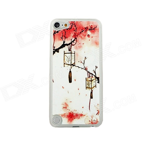 Lantern Hanging on Tree Pattern Plastic Back Case for IPOD Touch 5 - White + Red