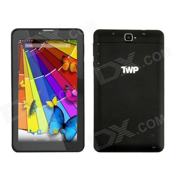 TWP 710B 7 IPS Quad-Core Android 4.4 Tablet PC w/1GB RAM, 8GB ROM, Bluetooth, 3G, Wi-Fi - Black sosoon x88 quad core 8 ips android 4 4 tablet pc w 1gb ram 8gb rom hdmi gps bluetooth white