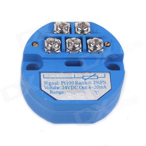 ZnDiy-BRY SBWZ RTD PT100 0~50'C DC 24V 20mA Temperature Sensor Transmitter Module - Deep Blue can be pasted type three wire pt100 thermal resistance platinum resistance surface heat resistance temperature sensor 1m