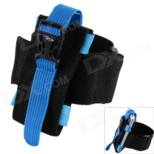 Oumily Outdoor Sports Gym Arm Band for Cell Phone - Black + Blue universal nylon cell phone holster blue black size l