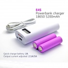 "Soshine E4S 1.0 ""LCD 5200mAh Li-ion Strøm Bank w / Micro USB-kabel for iPhone + More - Hvit"