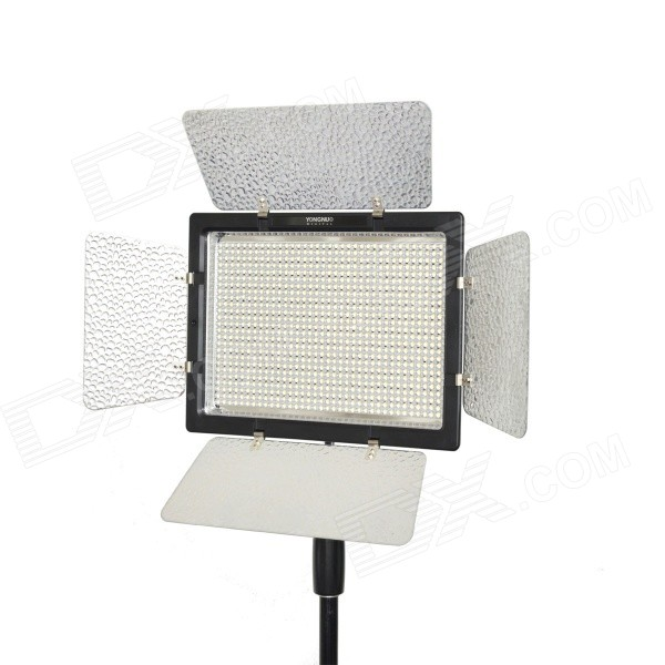 YONGNUO YN900 54W 900-LED 3200K-5500K Adjustable Video Light w/ Filters - BlackLighting and Flash<br>Form ColorBlackModelYN900MaterialABSQuantity1 DX.PCM.Model.AttributeModel.UnitCompatible BrandUniversalCompatible ModelsUniversalActual Lumens7200 DX.PCM.Model.AttributeModel.UnitTheoretical Lumens7200 DX.PCM.Model.AttributeModel.UnitTypeLEDVarible Focus NoColor Temperature3200K / 5500KIllumination Angle55Working Voltage   19V  5A DX.PCM.Model.AttributeModel.UnitPower54 DX.PCM.Model.AttributeModel.UnitLED Quantity900 DX.PCM.Model.AttributeModel.UnitBattery TypeLi-ion batteryBattery included or notNoBattery Quantity2 DX.PCM.Model.AttributeModel.UnitPacking List1 x Video light1 x Hand grip 1 x Remote control (Powered by 2 x AAA, not included)2 x CT filters (orange + white)1 x Chinese / English user manual<br>