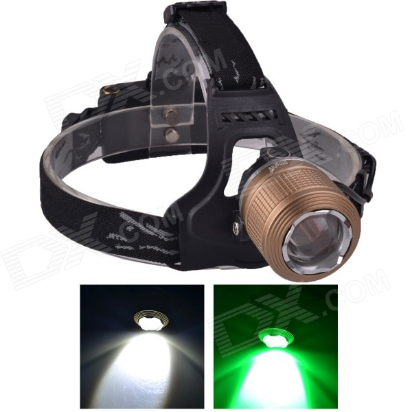 SingFire SF-647Z 2-LED 5V USB Zooming White + Green 3-Mode 250lm Hunting Headlamp - Brown(2 x 18650) singfire sf 558g 200lm 4 mode white green led zooming headlight 2 x 18650