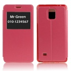Hat-Prince Protective Flip Open Case w/ View Window / Stand for Samsung Galaxy Note 4 N9100 - Red