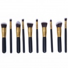 MeGooDo CB82054 10-in-1 Professional Cosmetic Makeup Brushes Set - Black + Golden