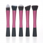 MeGooDo CB82055 5-in-1 Powder Blush Foundation Contour Makeup Brushes Tool Set - Pink + Black