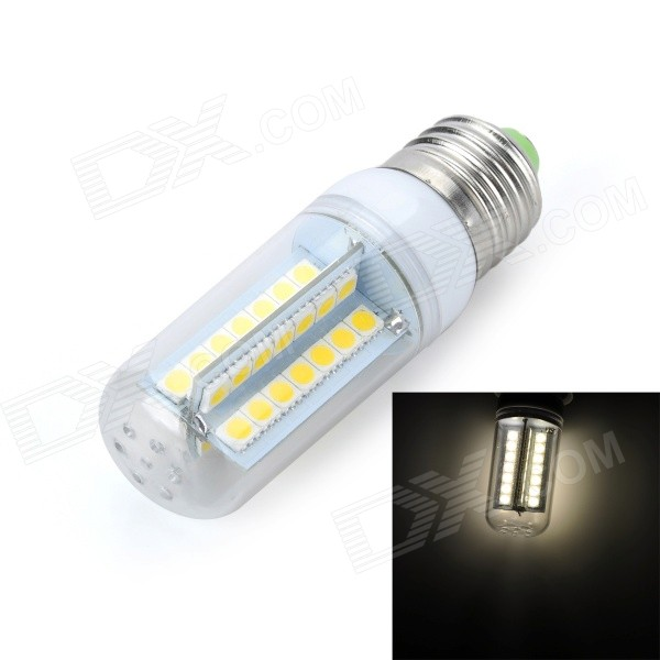Marsing E27 9W 800lm 3500K 56 x 5050 SMD LED Warm White Light Lamp - White + Yellow (AC 220~240V) marsing e14 frosted cover 10w 1000lm 3500k 56 x smd 5730 led warm white light bulb lamp ac 220v
