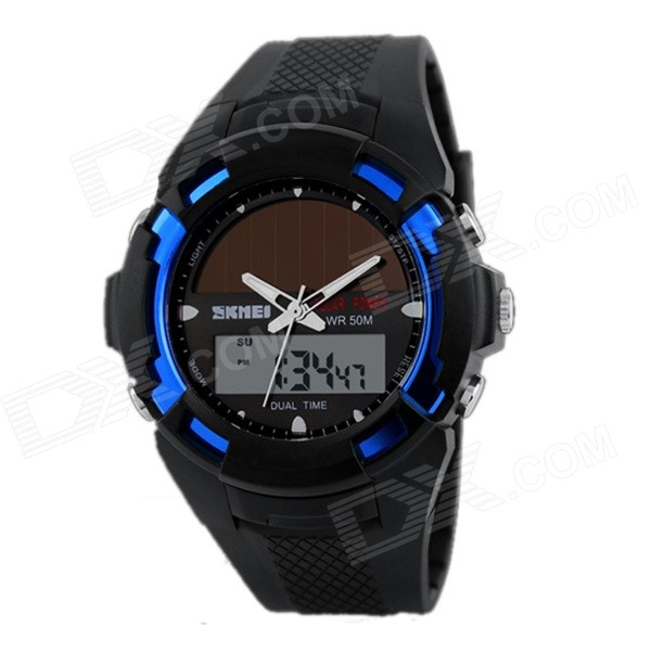 SKMEI Fashion Innovative Analog + Digital Display Solar Electronic Watch - Black + Blue