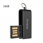 OURSPOP U520 Waterproof Mini Rotary USB 2.0 Flash Drive - Black (16GB)