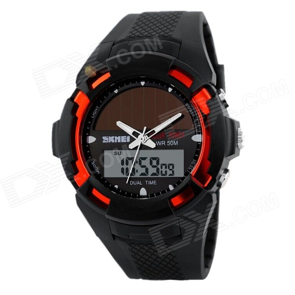 SKMEI Fashion Innovative Analog + Digital Display Solar Electronic Watch - Black + Red