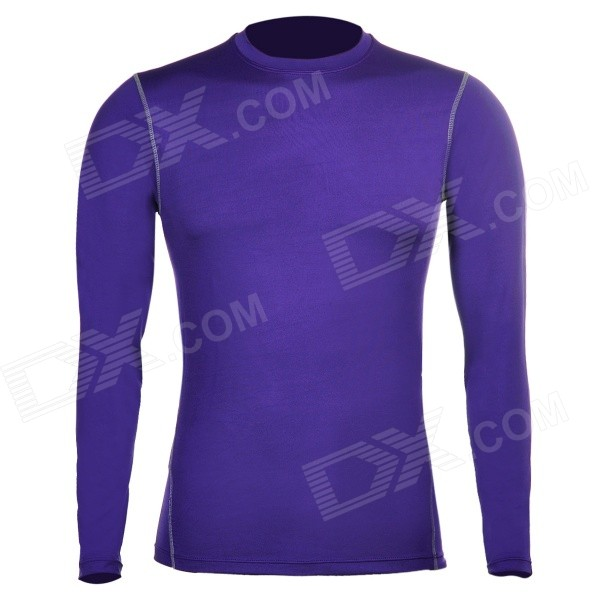 WJH Outdoor Sports Polyester + Spandex Tight Long-Sleeve Shirt for Men - Purple (Size L)