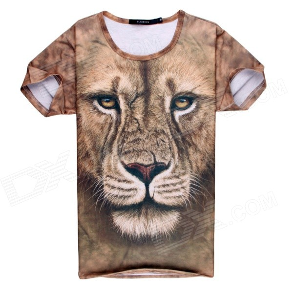 3D Printing Lion Head Design Cotton Short Sleeve T-shirt - Brown + Multicolored (M)