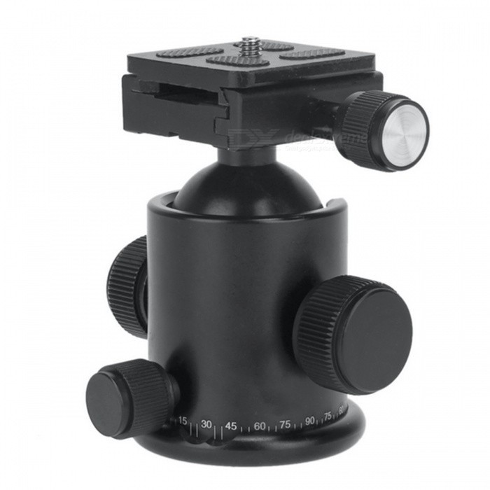 KS-1 Universal 360 Degrees Rotating Tripod Ball Head w/ Quick Release Plate for SLR Cameras - Black