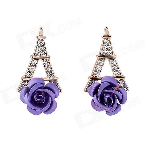 Women's Flower & Eiffel Tower Style Rhinestone Inlaid Ear Studs - Blue + Golden (Pair) float level switch for water tank tower pond yellow blue 5m
