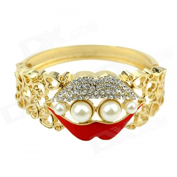 Women's Fashionable Lips Style Detail Hollow-out Zinc Alloy Bracelet - Golden + Red шорты спортивные adidas performance adidas performance ad094emqif71