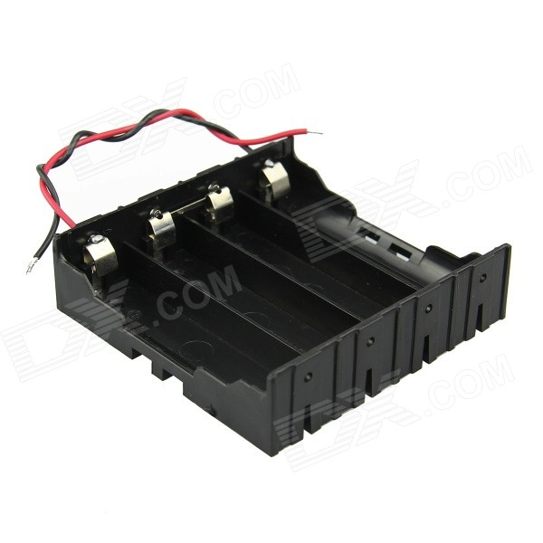 DIY 4-Slot Series 18650 Battery Holder w/ 2 Leads - Black
