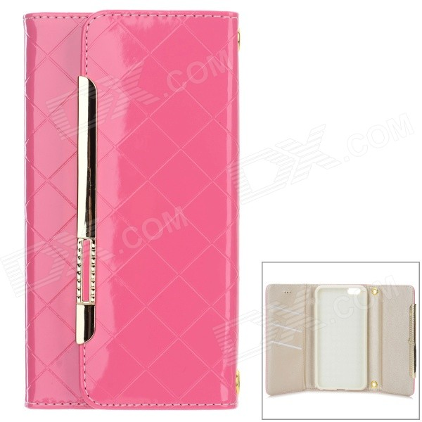 Fashion Purse Style Flip Open PU Case w/ Card Slots for IPHONE 6 PLUS - Pink