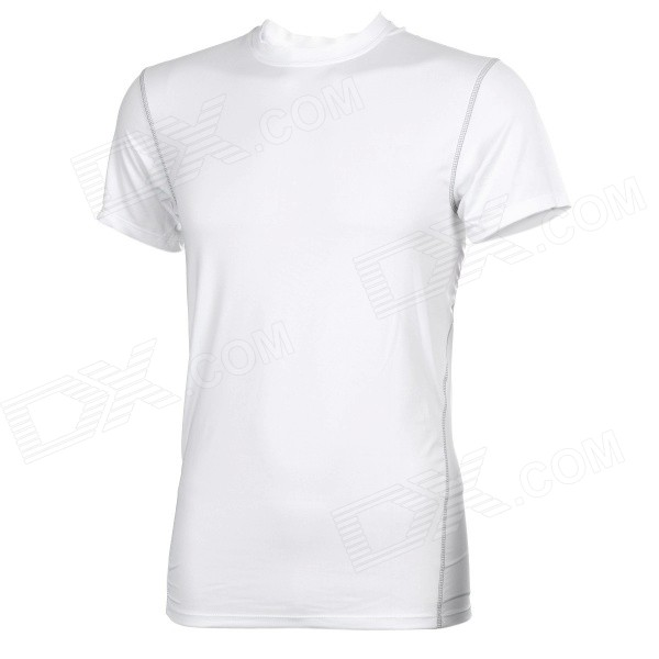 Outdoor Sports Polyester + Spandex Tight Short-Sleeve T-shirt for Men - White (L)