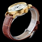 MCE Men's Casual PU Band Analog Automatic Mechanical Watch - Brown + White + Multi-Color
