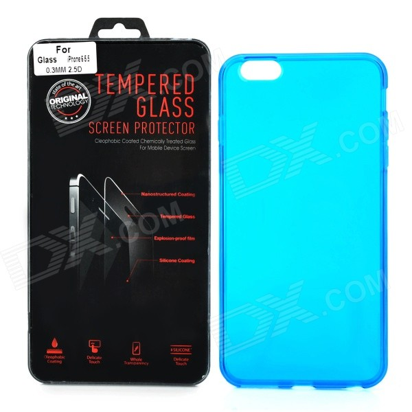 Protective PVC Back Case + Tempered Glass Screen Guard for IPHONE 6 PLUS - Blue + Transparent explosion proof tempered glass film screen protector for iphone 6 plus transparent