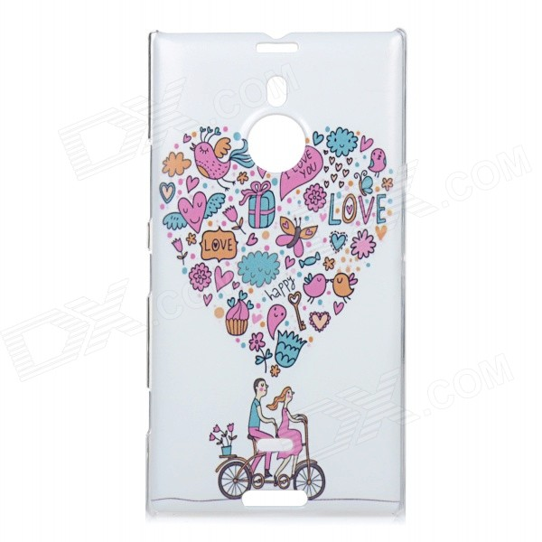 Cartoon Bike Pattern Protective PC Back Case for Nokia Lumia 1520 - White + Pink + Multi-Color design dots flower ribbons cartoon pink bow invitations card for wedding printing blank paper invitation cards kit laser cut