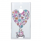 Cartoon Bike Pattern Protective PC Back Case for Nokia Lumia 1520 - White + Pink + Multi-Color