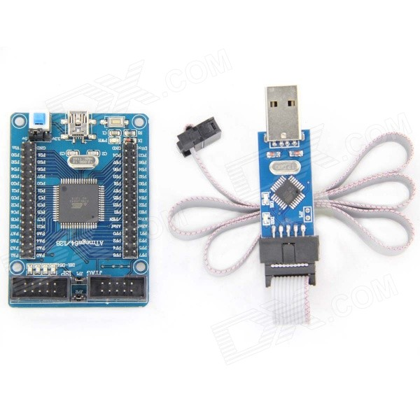 DIY ATmega128 Develop Chip Board Set with AVR Downloader Cable - DXDIY Parts &amp; Components<br>1. MCU: ATmega128 2. Power supplied by mini USB or plug pin on-board AMS117-3.3 Chipset; 3. On-board external 8M crystal board; Can be adjustable as you need. 4. All IO port are leaded out and marked; 5. On-board ISP interface; 6. Resettable circuit; 7. The Filter inductor and capacitor was applied to the AD converter reference voltage.<br>