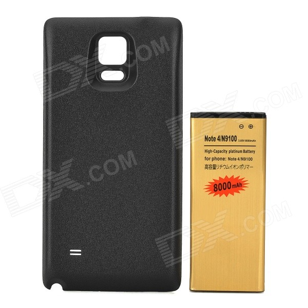 Replacement 3.85V / 8000mAh Battery + Back Cover Set for Samsung Galaxy Note 4 / N9100 - Black replacement back camera circle lens for samsung galaxy s5 g900 black