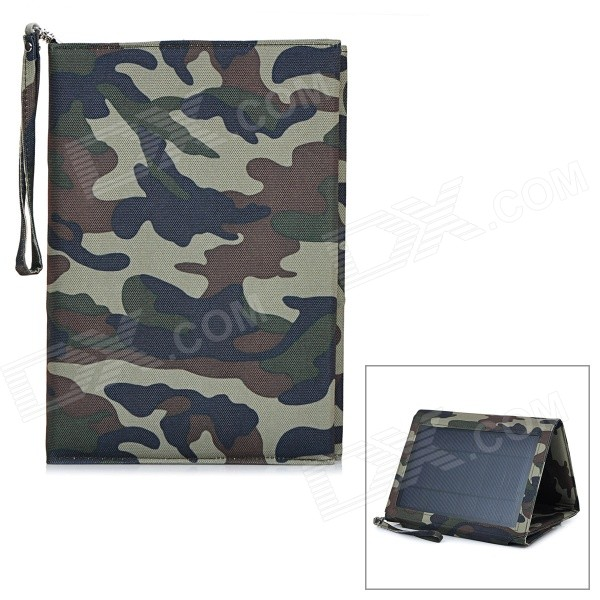 Universal Folding Solar Powered 5V 12W 4500mAh Dual-USB Li-polymer Battery Power Bank - Camouflage odem portable universal 5v 8000mah li polymer battery dual usb power bank for mobile phone black