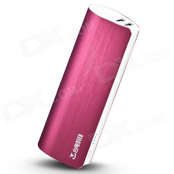 Teclast T100J-R 5V 10000mAh Dual USB Li-ion Power Bank w/ LED Indicator - Deep Pink teclast t100j r 5v 10000mah dual usb li ion power bank w led indicator blueish green