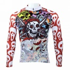 Men's Skull Pattern Long-sleeve Polyester Cycling Jersey - White + Red (S)
