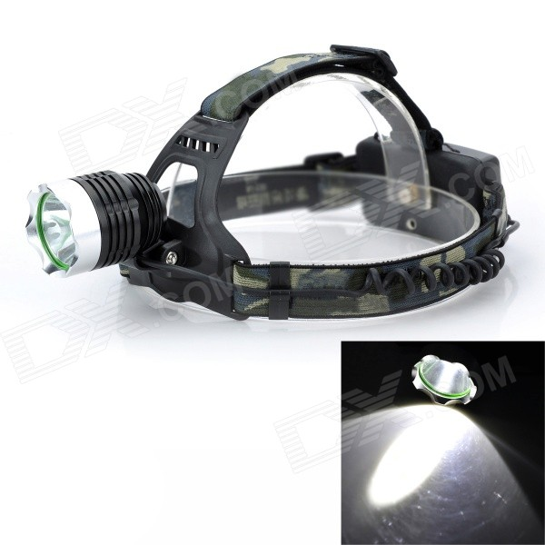 Outdoor 10W LED 800lm 3-Mode Cool White Headlamp / Bike Light - Black (2 x 18650)