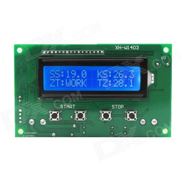 XGHF 1602 2.6 LCD Digital Thermostat w/ Blue Backlight - Green (DC12V) favourite 1602 1f
