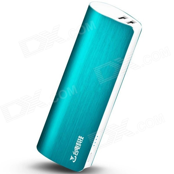 Teclast T100J-R 5V 10000mAh Dual USB Li-ion Power Bank w/ LED Indicator - Blueish Green konka kw 100 universal dual usb 8400mah li ion battery power bank w led indicator white