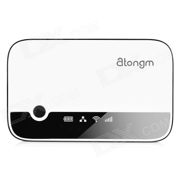 Atongm W300 3G WCDMA Mobile Router + 3000mAh Power Bank - White cheerlink aw268 3g wireless router 2400mah power bank repeater wi fi hotspot multimedia