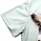 XINGLONG 3D Raccoon Pattern Short Sleeves T-Shirt - Light Grey + Multicolor (Size M)