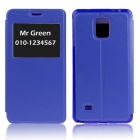 Hat-Prince Protective Case w/ Call Display + Stand for Samsung Galaxy Note 4 N9100 - Deep Blue