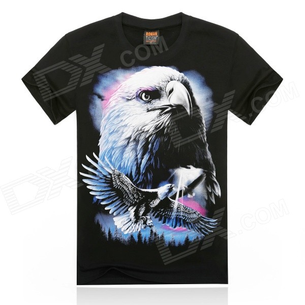ROMAN 3D Printing  White Eagle Head Design Cotton T-shirt - Black + Multicolor (Size XL)