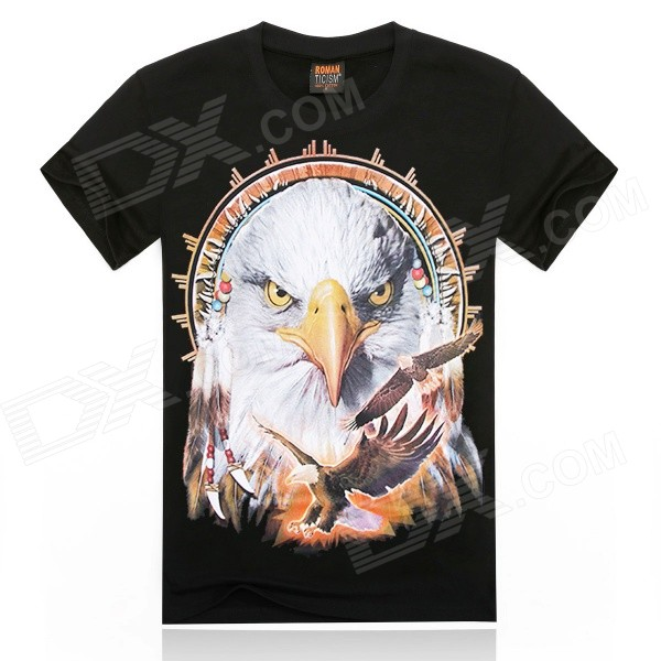 ROMAN 3D Printing White Eagle Design Cotton T-shirt - Black + Multicolor (Size XL)
